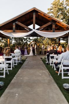 THE SPRINGS' Ranch wedding venue style always has a breathtaking outdoor ceremony site. The pavilion is all yours to decorate as you'd like, and we provide the ceremony chairs. This particular photo is of the gorgeous SPRINGS wedding venue in Tulsa, Oklahoma! Follow this pin to our website for more information, or to book your free tour! Photographer: Sherece Kelly Photography #ranchwedding #ranchweddingvenue #southernwedding #southernweddingvenue #southernbride #outdoorwedding #wedding
