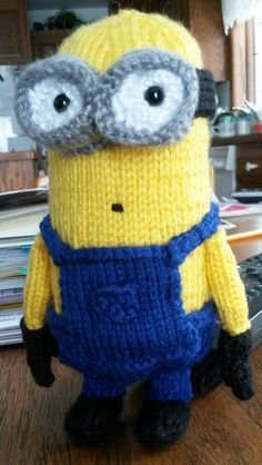 Free Knitting Pattern for Minion 6 Inch Toy - This small Minion softie was designed by Alexandria Batista for fingering yarn.