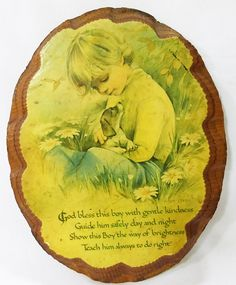 """Vintage wood wall plaque with """"god bless this boy"""" picture of boy and dog by MashliDesign on Etsy"""