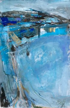 Emma Haggas Abstract Landscape in Blue (Hungerford Gallery) Signed Oil on paper 29 x 19 in 76 x 50 cms (Framed size 89 x 64 cms) Abstract Landscape Painting, Seascape Paintings, Impressionist Landscape, Abstract Oil, Watercolor Landscape, Abstract Art Blue, Tree Paintings, Tableaux Vivants, Landscape Artwork