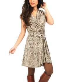 Look at this Beige Swirl Surplice Dress on #zulily today!