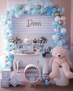Pin on Baby shower Baby Shower For Men, Deco Baby Shower, Boy Baby Shower Themes, Baby Shower Balloons, Baby Shower Gender Reveal, Shower Party, Baby Shower Parties, Diy Baby Shower Decorations, Balloon Decorations Party