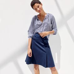 J.Crew Looks We Love: women's tie-neck top in shirting stripe and sailor skirt in ponte.