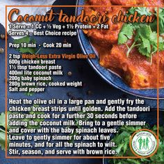 Weigh-Less Best Choice Recipe Fall Recipes, Healthy Recipes, Diet Recipes, Cooking Recipes, Tandoori Paste, Indian Chicken Recipes, Paneer Recipes, Food Facts, Evening Meals