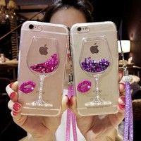 Wish | Liquid Quicksand Bling Rhinestone Wine Glass Pattern Phone Case with Hang Rope For  iPhone 7/ 7 Plus,iPhone 5 5S SE / 6 6s / 6 6s Plus,Samsung Galaxy S8 / S8 Plus / S7 / S7 Edge / S6 / S6 Edge / S6 Edge Plus / S5 / S4 ,Galaxy G530 / Note 5 4 3 / A3 A5 A7 / J3 J5 J7,Huawei
