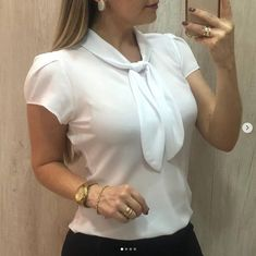 4 Color Womens Ladies Fashion Elegant Blouse Short Sleeve Bow Chiffon Shirts Summer Tops Office Shirts Plus Size Moda Instagram, Plus Size Shirts, Plus Size Blouses, The Office Shirts, Sexy Shirts, White Shirts, Chiffon Shirt, Chiffon Blouses, Mode Hijab