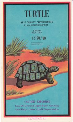 #Turtle vintage firecracker label
