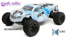ECX 1/10 Circuit 2WD StadiumTruck, Brushed, LiPo, RTR White/Blue, Blue/Orange - $159.99 Rc Cars And Trucks, Blue Orange, Circuit, Hobbies