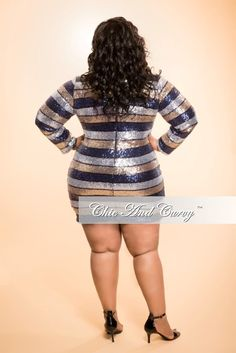 New Plus Size BodyCon Sequin Dress in  Gold, Silver and Blue