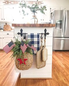 """""""Home of the free BECAUSE of the BRAVE. I hope everyone is having a wonderful long weekend spent with those who mean the most to you. Farmhouse Kitchen Decor, Farmhouse Chic, Decorating Kitchen, Modern Country Style, Kitchen Island Decor, Cabin Kitchens, Cabinet Decor, Cabinet Design, Updated Kitchen"""