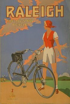 Vintage Raleigh adverts that nail spring cycle style Vintage Advertising Posters, Old Advertisements, Vintage Travel Posters, Raleigh Bicycle, Raleigh Bikes, Bike Poster, Poster Art, Old Bicycle, Bicycle Art