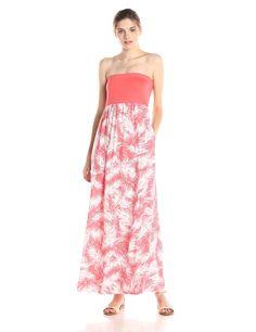 Palm Printed Straplesss Maxi Dress by Splendid
