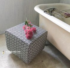 I re purposed this milk crate into a chic Milk Crate Fabric Cube!