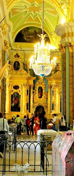 Some royal tombs of Russian emperors inside the cathedral of Peter and Paul Fortress in St. Peterburg