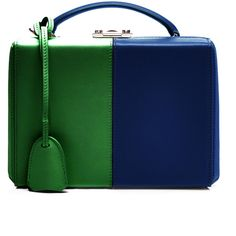 M'O Exclusive: Small Grace Trunk In Two-Tone Red And Blue Leather by Mark Cross for Preorder on Moda Operandi Green Shoulder Bags, Shoulder Handbags, Mini Purse, Mini Bag, Navy And Green, Red And Blue, Kelly Green, Calf Leather, Leather Bag