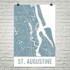 St. Augustine Map Art Print, St. Augustine FL Art Poster, St. Augustine Wall Art, St. Augustine Print, Map of St. Augustine, Gift, Art