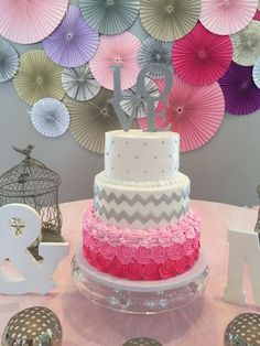 Bridal shower chevron rose cake!  birthday party!  See more party planning ideas at CatchMyParty.com!