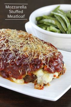 Mozzarella Stuffed Meatloaf from The Stay At Home Chef. Homestyle meatloaf stuffed with ooey gooey mozzarella cheese. Comfort food at its finest!