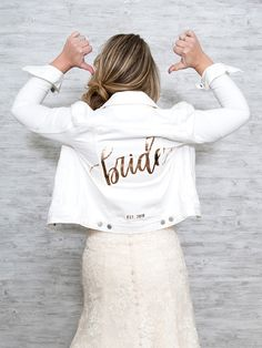 These Custom Bride and Wifey Jean Jackets Are The BEST! - Jeans Jacket - Ideas of Jeans Jacket - Learn how to easily customize your own Bride or Wifey jean jacket! Rustic Wedding Dresses, Wedding Bride, Wedding Gowns, Dream Wedding, Bouquet Wedding, Bride Groom, Lace Wedding, White Tuxedo Wedding, Wedding Jacket