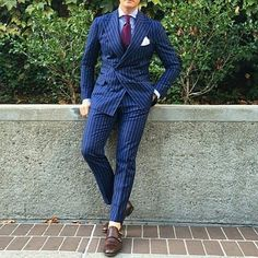 My love for pin stripe suits continues, this time with som…   Flickr - Photo Sharing!