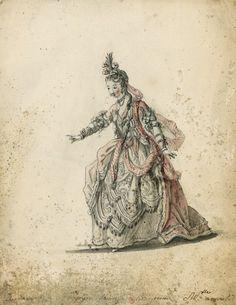 Costume pour Dardanus de Rameau  Dessins et croquis de costumes pour les opéras représentés à Paris et à Versailles de 1739 à 1767  Louis-René Boquet (1717-1814).  BnF, Manuscrits, Rothschild 1462, n° 28