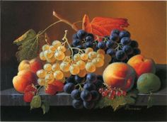 severin roesen still life of fruit on a marble tabletop painting
