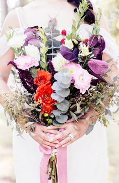 purple themed bouquet, photo by Reverie Supply http://ruffledblog.com/west-nyack-wedding-inspiration #weddingbouquet #flowers