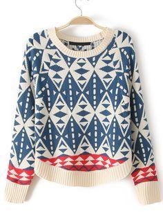 Blue Long Sleeve Diamond Patterned Batwing Crop Sweater