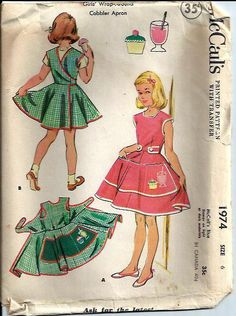 McCalls 1974    Size: 6, breast 24    C1955    Girls Wrap Around Cobbler Apron with Transfers    Pattern is cut and is complete along with