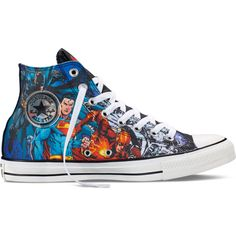Converse Chuck Taylor DC Comics Justice League – black/blue/green... ($60) ❤ liked on Polyvore featuring shoes, sneakers, blue high top sneakers, black hi tops, green high top sneakers, high top sneakers and converse shoes