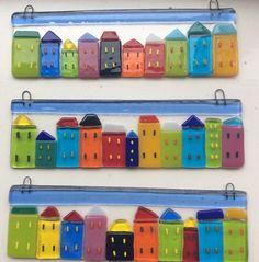 Fused Glass Houses Suncatcher House Summer Street Picture Tile Gift