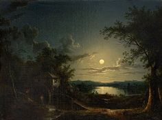 Artwork by Sebastian Pether, A Watermill beside a Lake in the Moonlight, Made of oil on canvas