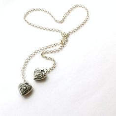 Silver Lariat Necklace Heart Jewelry Unique Handcrafted by cdjali, $12.00