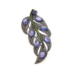 Rarities Fine Jewelry with Carol Brodie Rarities: Fine Jewelry with Carol Brodie Tanzanite, Diamond and Chrome Diopside Black Rhodium Sterling Silv...
