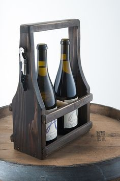 Handmade Wine Carrier Wine Tote Wooden Natural Reclaimed Reused Cedar Wood Dark Espresso Stain with a Soft Curve