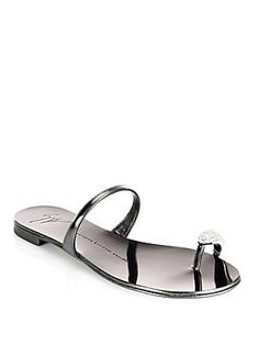 009d6604ad28 Giuseppe Zanotti - Nuvo Rock Jeweled Toe Ring Leather Flat Sandals