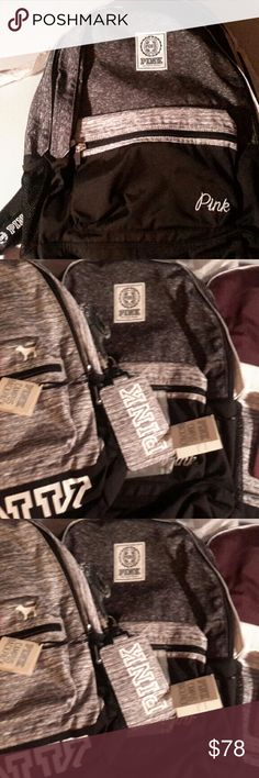 Victoria secret dark marled grey campus backpack Nwt  backpack only. have a matching grey marl ed  lanyard in my listings also! Nice way to start school! PINK Victoria's Secret Bags Backpacks
