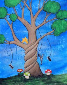 The Tree of Extra Life 8x10 Art Print Nintendo mushroom star controller by CinamonSquirrel on Etsy https://www.etsy.com/listing/99597221/the-tree-of-extra-life-8x10-art-print