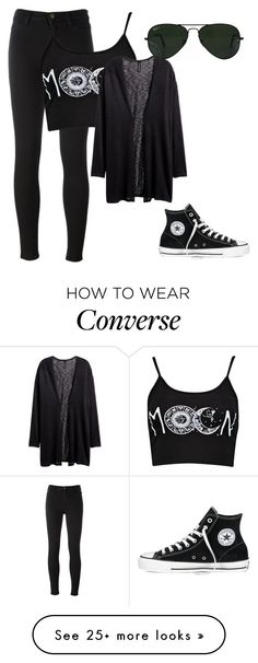 """I'm back~Lily"" by tasialynn03 on Polyvore featuring Converse, Ray-Ban, 7 For All Mankind and H&M"