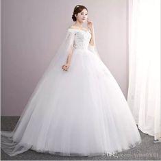 2a7208990b1 Discount Luxury Wedding Dress Vestido De Noiva Boat Neck Lace Ball Gown  2018 Royal Train Appliques