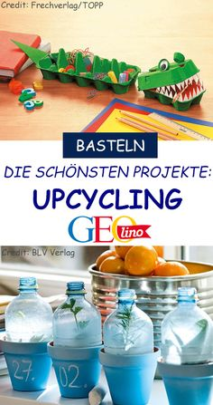 Upcycling: the best ideas - We deliver you on our topic page on upcycling GEOlino.de the best ideas and projects to conjure up - Upcycled Crafts, Diy Crafts To Sell, Diy Crafts For Kids, Diy Furniture Projects, Recycled Furniture, Craft Projects, Craft Ideas, Decor Ideas, Diy Tumblr
