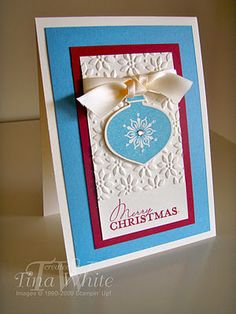 Love the colors!  Christmas card - Stampin Up  ** Hanging the holly,trimming the tree,family & friends as close as can be. Merry moments, sugar & spice...these are the things that make Christmas so nice.