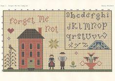 Liberty Primitives & Needlework: FREEBIE FOR YOU! FORGET ME NOT SAMPLER