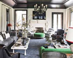 Steven Gambrel - gray sofa & black ceiling and trim are gorgeous.