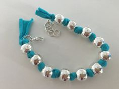 Turqoise+fabric+silver+beads+by+MMMInteriorDesign+on+Etsy