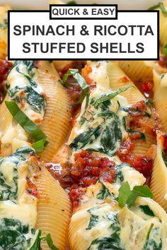 Stuffed Shells Recipe, Stuffed Pasta Shells, Baked Shells And Cheese Recipe, Ricotta Cheese Stuffed Shells, Healthy Stuffed Shells, Vegetarian Recipes, Cooking Recipes, Healthy Recipes, Pasta Recipes