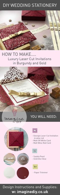 How to make your own wedding stationery. Luxury Burgundy and Gold wedding invitation with pearl and crystal details. Easy to make yourself. DIY wedding stationery supplies available from Imagine DIY