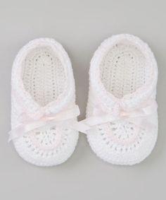 Loving this White & Pink Christening Crocheted Bootie on #zulily! #zulilyfinds