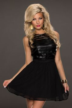 Non-sleeved, double layered skater dress with black striped mesh overlay bodice and chiffon skirt, short and sexy to show a woman's long legs. How curvaceous and beautiful in this dress, it can definitely pick up the confidence you lost before. Black Party Dresses, Party Dresses For Women, Cheap Dresses, Sexy Dresses, Fashion Dresses, Alena Blohm, Mini Skater Dress, Skater Dresses, Peplum Dresses
