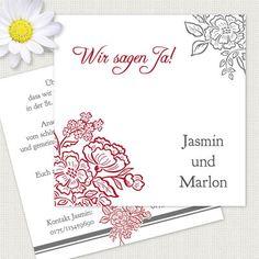 """Einladungskarten zur Hochzeit 12,5x12,5cm """"Jasmin"""" inkl. Druck & Umschläge € 25,50"""